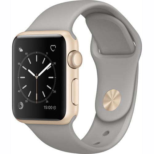 Apple Watch Series 1 38mm Smartwatch (Gold Aluminum Case, Concrete Sport Band)