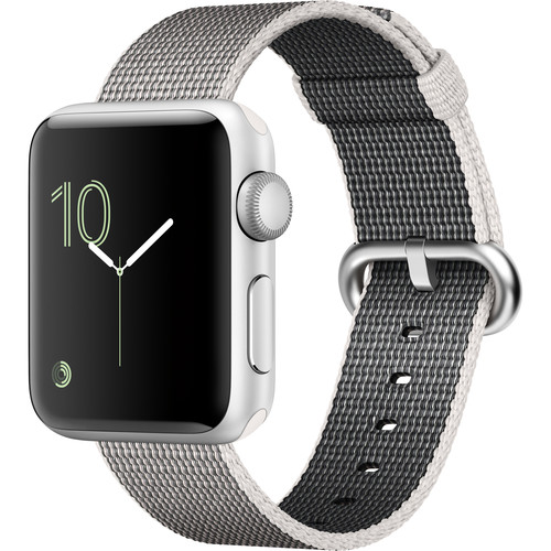 Apple Watch Series 2 38mm Smartwatch (Silver Aluminum Case, Pearl Woven Nylon Band)