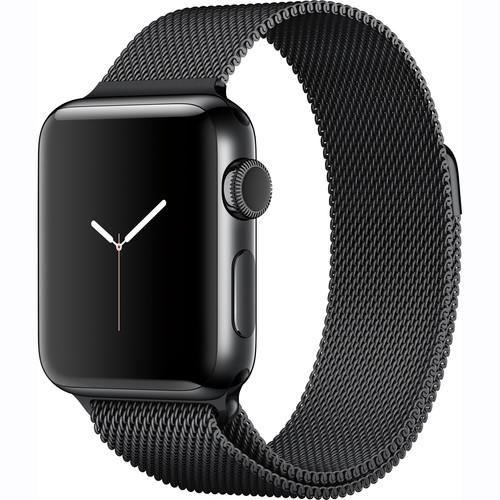 Apple Watch Series 2 38mm Smartwatch (Space Black Stainless Steel Case, Space Black Milanese Loop Band)