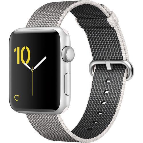 Apple Watch Series 2 42mm Smartwatch (Silver Aluminum Case, Pearl Woven Nylon Band)