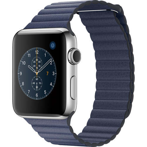 Apple Watch Series 2 42mm Smartwatch ( Stainless Steel Case, Midnight Blue Medium Leather Loop Band)