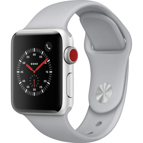 Apple Watch Series 3 38mm Smartwatch (GPS + Cellular, Silver Aluminum Case, Fog Sport Band)