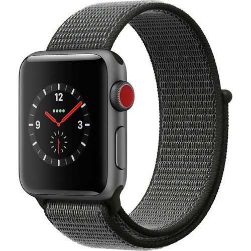Apple Watch Series 3 38mm Smartwatch (GPS + Cellular, Space Gray Aluminum Case, Dark Olive Sport Loop)