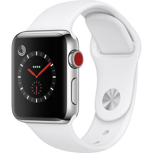 Apple Watch Series 3 38mm Smartwatch (GPS + Cellular, Stainless Steel Case, Soft White Sport Band)