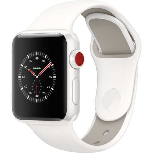 Apple Watch Edition Series 3 38mm Smartwatch (GPS + Cellular, White Ceramic Case, Soft White/Pebble Sport Band)