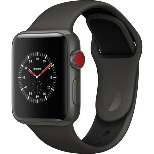 Apple Watch Edition Series 3 38mm Smartwatch (GPS + Cellular, Gray Ceramic Case, Gray/Black Sport Band)