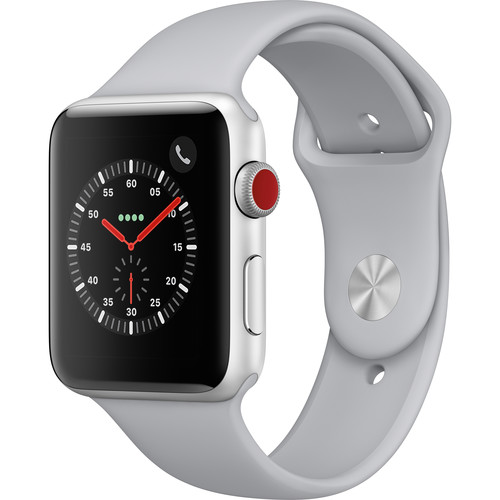 Apple Watch Series 3 42mm Smartwatch (GPS + Cellular, Silver Aluminum Case, Fog Sport Band)