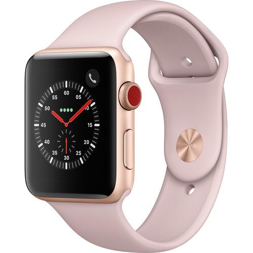 Apple Watch Series 3 42mm Smartwatch (GPS + Cellular, Gold Aluminum Case, Pink Sand Sport Band)