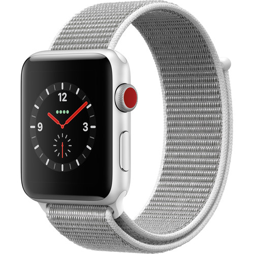 Apple Watch Series 3 42mm Smartwatch (GPS + Cellular, Silver Aluminum Case, Seashell Sport Loop)