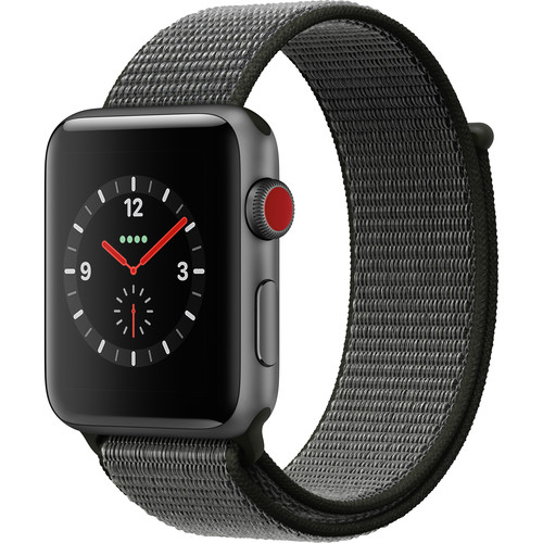Apple Watch Series 3 42mm Smartwatch (GPS + Cellular, Space Gray Aluminum Case, Dark Olive Sport Loop)
