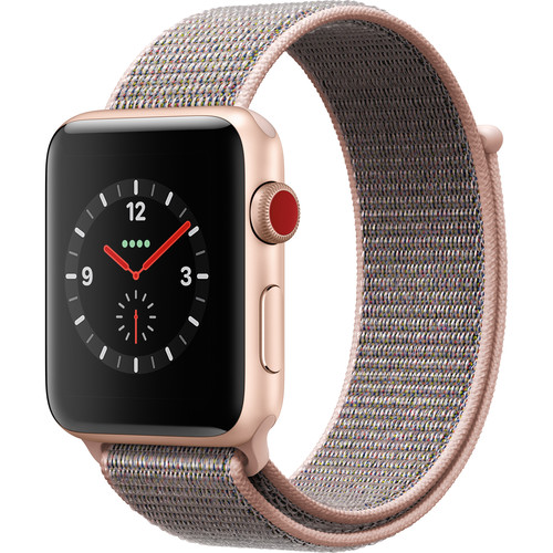 Apple Watch Series 3 42mm Smartwatch (GPS + Cellular, Gold Aluminum Case, Pink Sand Sport Loop)