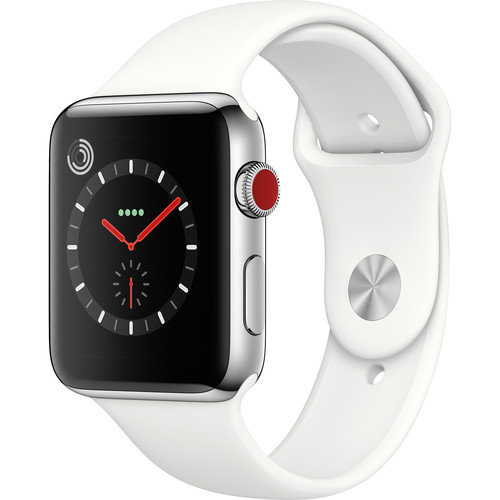Apple Watch Series 3 42mm Smartwatch (GPS + Cellular, Stainless Steel Case, Soft White Sport Band)