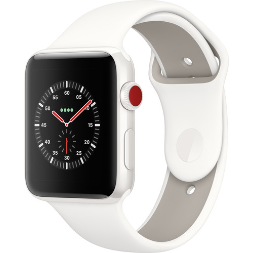 Apple Watch Edition Series 3 42mm Smartwatch (GPS + Cellular, White Ceramic Case, Soft White/Pebble Sport Band)