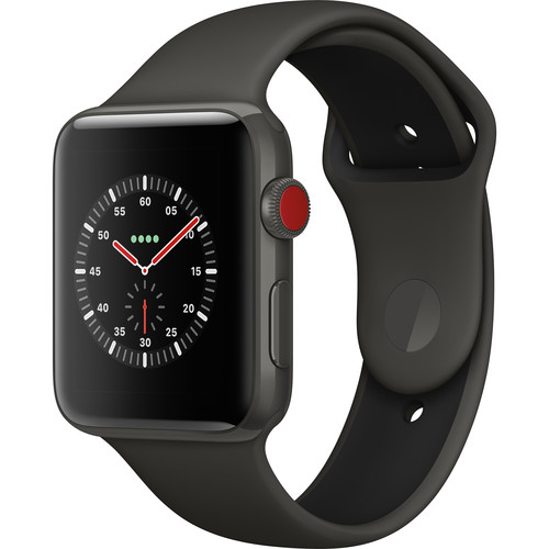 Apple Watch Edition Series 3 42mm Smartwatch (GPS + Cellular, Gray Ceramic Case, Gray/Black Sport Band)