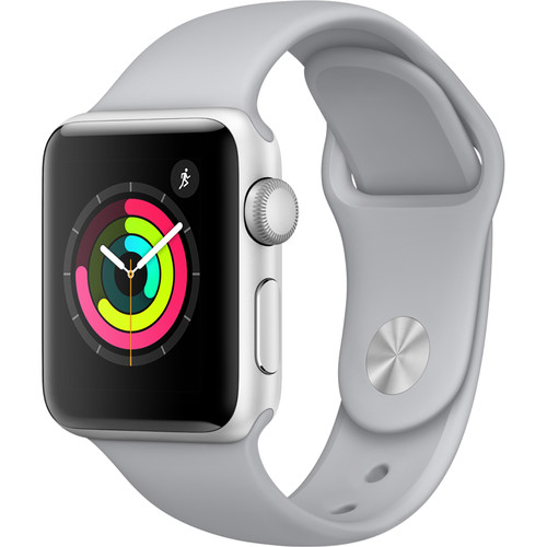 Apple Watch Series 3 38mm Smartwatch (GPS Only, Silver Aluminum Case, Fog Sport Band)