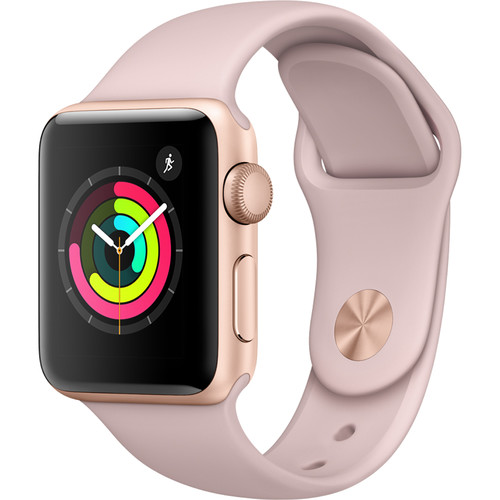Apple Watch Series 3 38mm Smartwatch (GPS Only, Gold Aluminum Case, Pink Sand Sport Band)