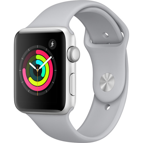 Apple Watch Series 3 42mm Smartwatch (GPS Only, Silver Aluminum Case, Fog Sport Band)