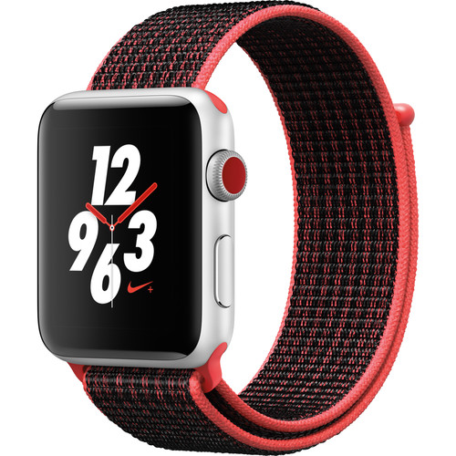 Apple Watch Nike+ Series 3 42mm Smartwatch (GPS + Cellular, Silver Aluminum Case, Bright Crimson/Black Nike Sport Loop)