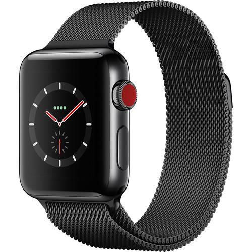 Apple Watch Series 3 38mm Smartwatch (GPS + Cellular, Space Black Stainless Steel Case, Space Black Milanese Loop)
