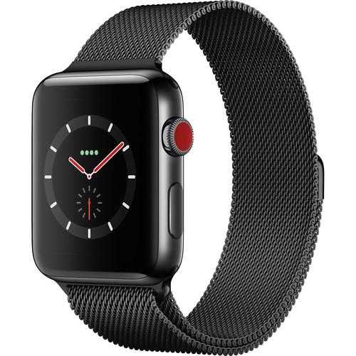 Apple Watch Series 3 42mm Smartwatch (GPS + Cellular, Space Black Stainless Steel Case, Space Black Milanese Loop)