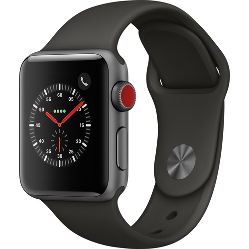 Apple Watch Series 3 38mm Smartwatch (GPS + Cellular, Space Gray Aluminum Case, Gray Sport Band)