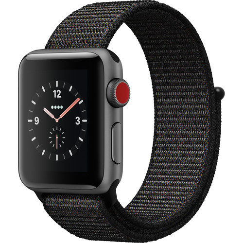 Apple Watch Series 3 38mm Smartwatch (GPS + Cellular, Space Gray Aluminum Case, Black Sport Loop Band)