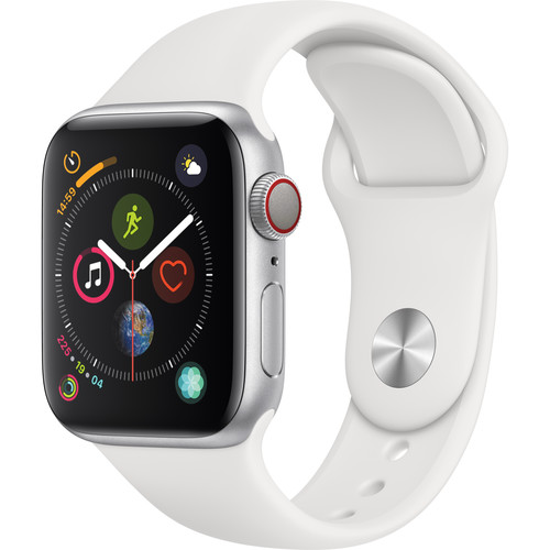 Apple Watch Series 4 (GPS + Cellular, 40mm, Silver Aluminum, White Sport Band)