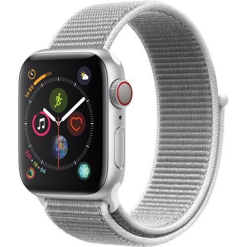 Apple Watch Series 4 (GPS + Cellular, 40mm, Silver Aluminum, Seashell Sport Loop)