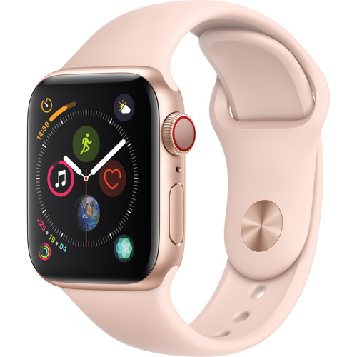 Apple Watch Series 4 (GPS + Cellular, 40mm, Gold Aluminum, Pink Sand Sport Band)