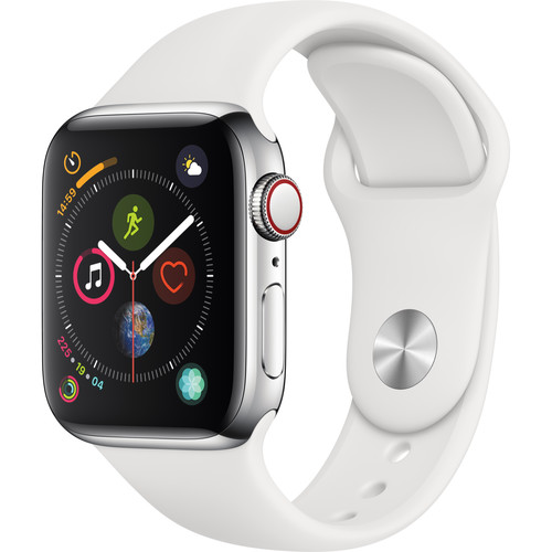 Apple Watch Series 4 (GPS + Cellular, 40mm, Stainless Steel, White Sport Band)