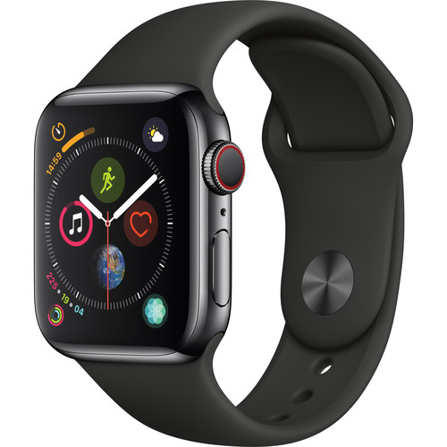 Apple Watch Series 4 (GPS + Cellular, 40mm, Space Black Stainless Steel, Black Sport Band)