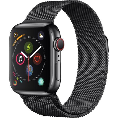 Apple Watch Series 4 (GPS + Cellular, 40mm, Space Black Stainless Steel, Space Black Milanese Loop)