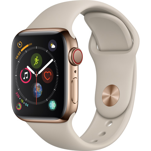 Apple Watch Series 4 (GPS + Cellular, 40mm, Gold Stainless Steel, Stone Sport Band)