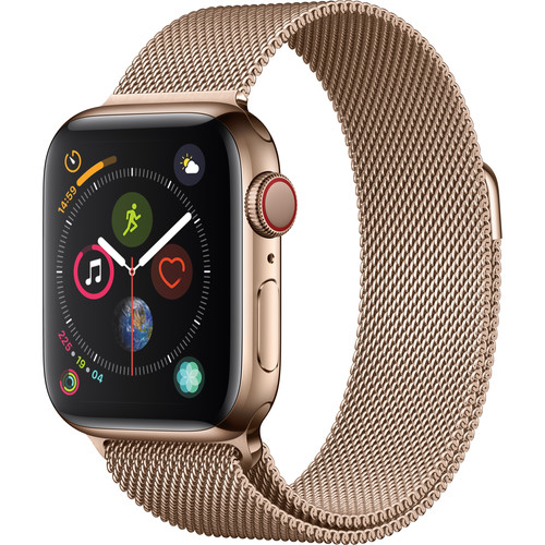 Apple Watch Series 4 (GPS + Cellular, 40mm, Gold Stainless Steel, Gold Milanese Loop)