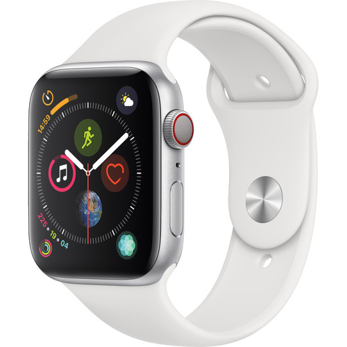 Apple Watch Series 4 (GPS + Cellular, 44mm, Silver Aluminum, White Sport Band)