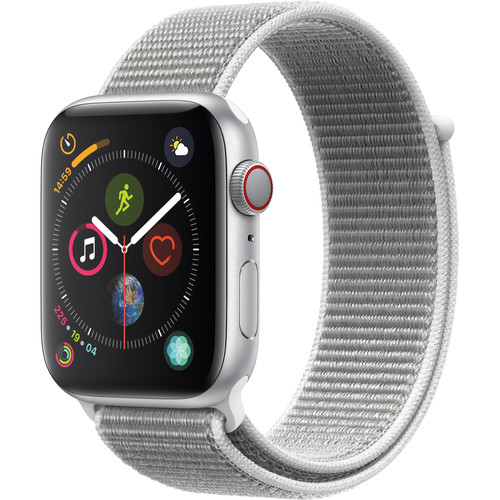 Apple Watch Series 4 (GPS + Cellular, 44mm, Silver Aluminum, Seashell Sport Loop)