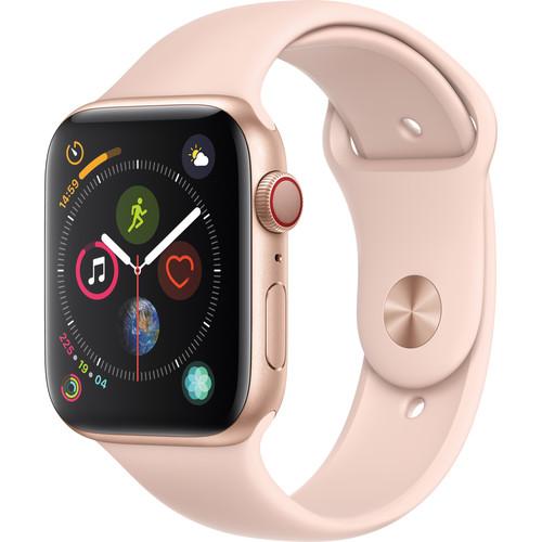 Apple Watch Series 4 (GPS + Cellular, 44mm, Gold Aluminum, Pink Sand Sport Band)