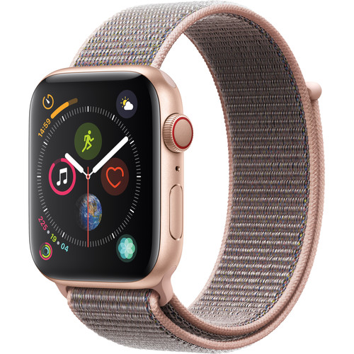 Apple Watch Series 4 (GPS + Cellular, 44mm, Gold Aluminum, Pink Sand Sport Loop)
