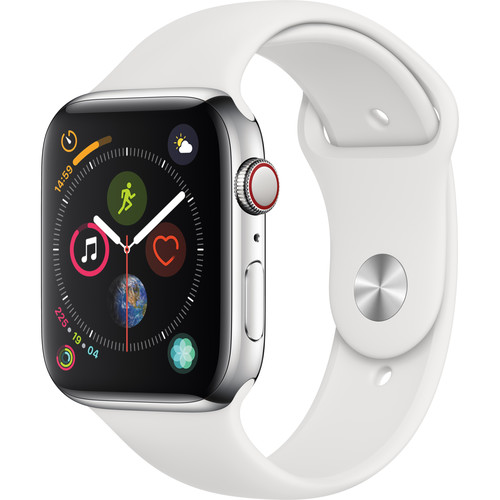 Apple Watch Series 4 (GPS + Cellular, 44mm, Stainless Steel, White Sport Band)