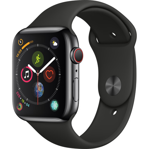 Apple Watch Series 4 (GPS + Cellular, 44mm, Space Black Stainless Steel, Black Sport Band)