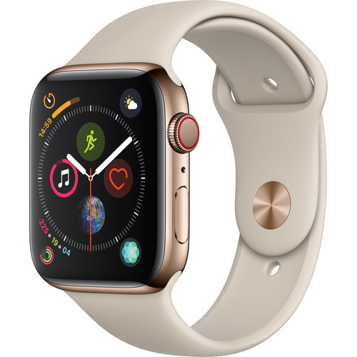 Apple Watch Series 4 (GPS + Cellular, 44mm, Gold Stainless Steel, Stone Sport Band)