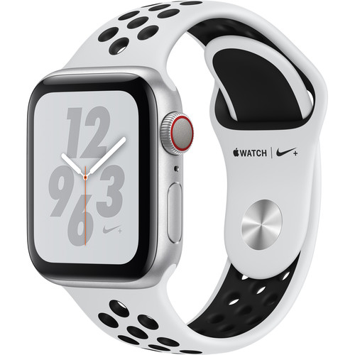 Apple Watch Nike+ Series 4 (GPS + Cellular, 40mm, Silver Aluminum, Pure Platinum/Black Nike Sport Band)