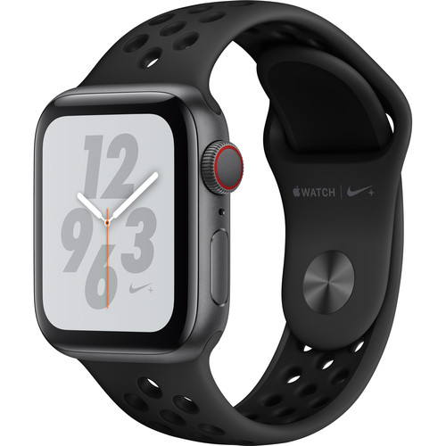 Apple Watch Nike+ Series 4 (GPS + Cellular, 40mm, Space Gray Aluminum, Anthracite/Black Nike Sport Band)