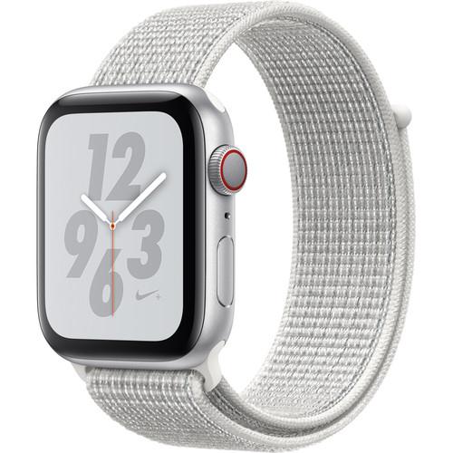 Apple Watch Nike+ Series 4 (GPS + Cellular, 44mm, Silver Aluminum, Summit White Nike Sport Loop)