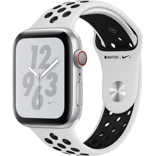 Apple Watch Nike+ Series 4 (GPS + Cellular, 44mm, Silver Aluminum, Pure Platinum/Black Nike Sport Band)