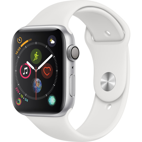 Apple Watch Series 4 (GPS Only, 44mm, Silver Aluminum, White Sport Band)