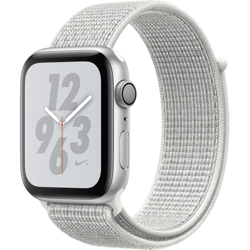 Apple Watch Nike+ Series 4 (GPS Only, 44mm, Silver Aluminum, Summit White Nike Sport Loop)