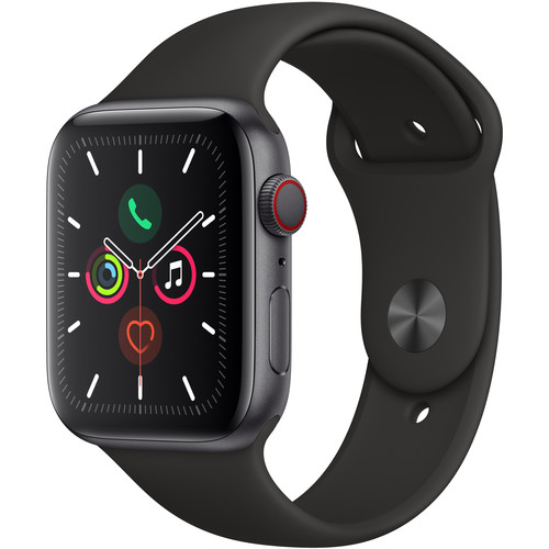 Apple Watch Series 5 (GPS + Cell, 44mm, Space Gray Aluminum, Black Sport Band)