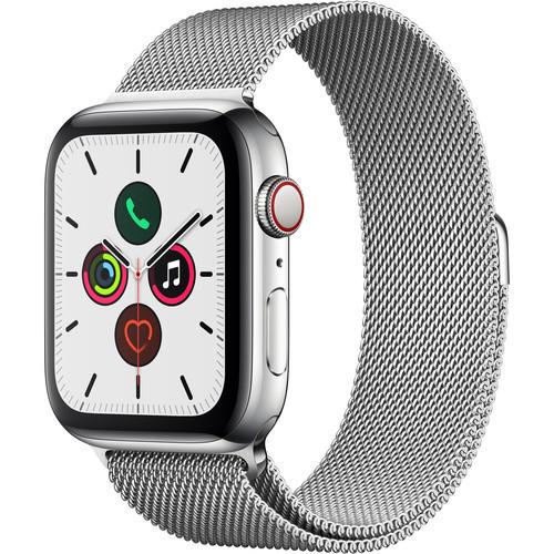 Apple Watch Series 5 (GPS + Cell, 44mm, Stainless Steel, Stainless Steel Milanese Loop)