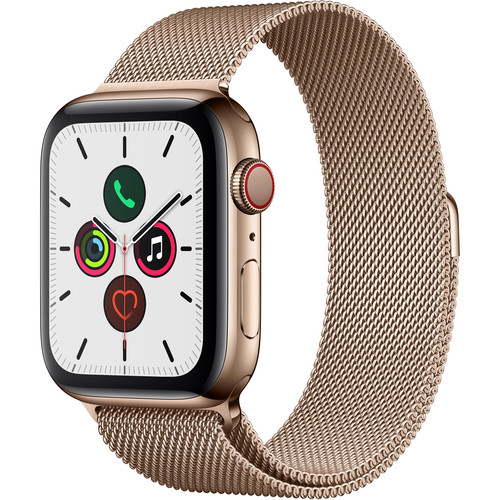 Apple Watch Series 5 (GPS + Cell, 44mm, Gold Stainless Steel, Gold Milanese Loop)